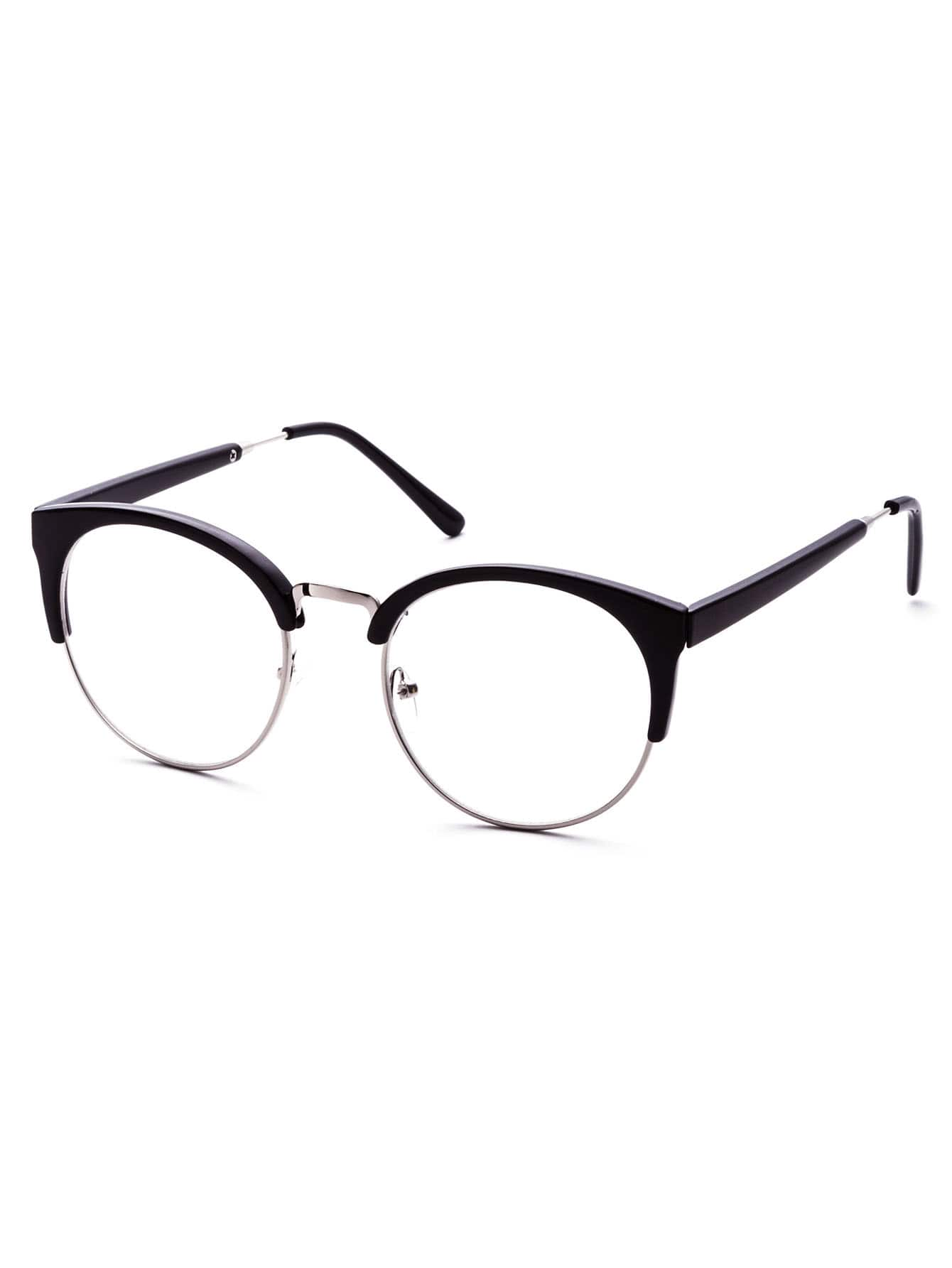 Фото Black Open Frame Round Clear Lens Glasses. Купить с доставкой