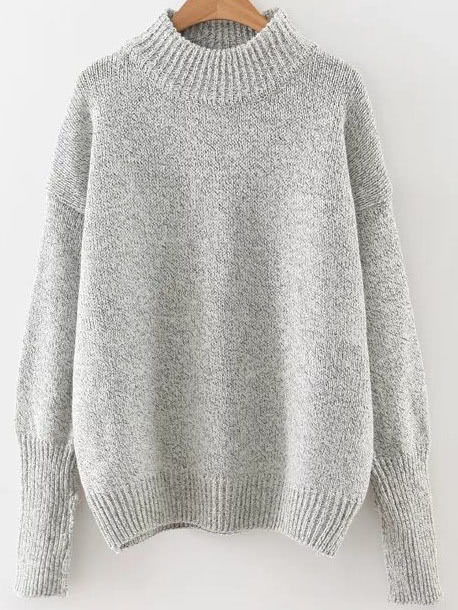 Grey Crew Neck Ribbed Trim Drop Shoulder Sweater sweater160909211