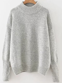 Crew Neck Ribbed Trim Drop Shoulder Knitwear ROMWE