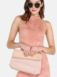 Roll Up Suede Purse BLUSH