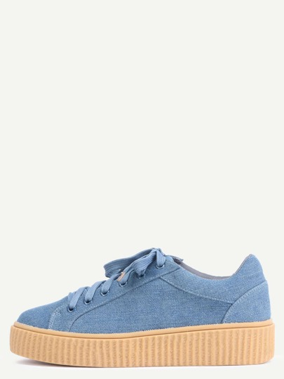 Faux Suede Platform Sneakers DENIM