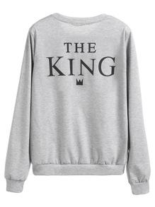 Sweat-shirt imprimé slogan manche longue - gris