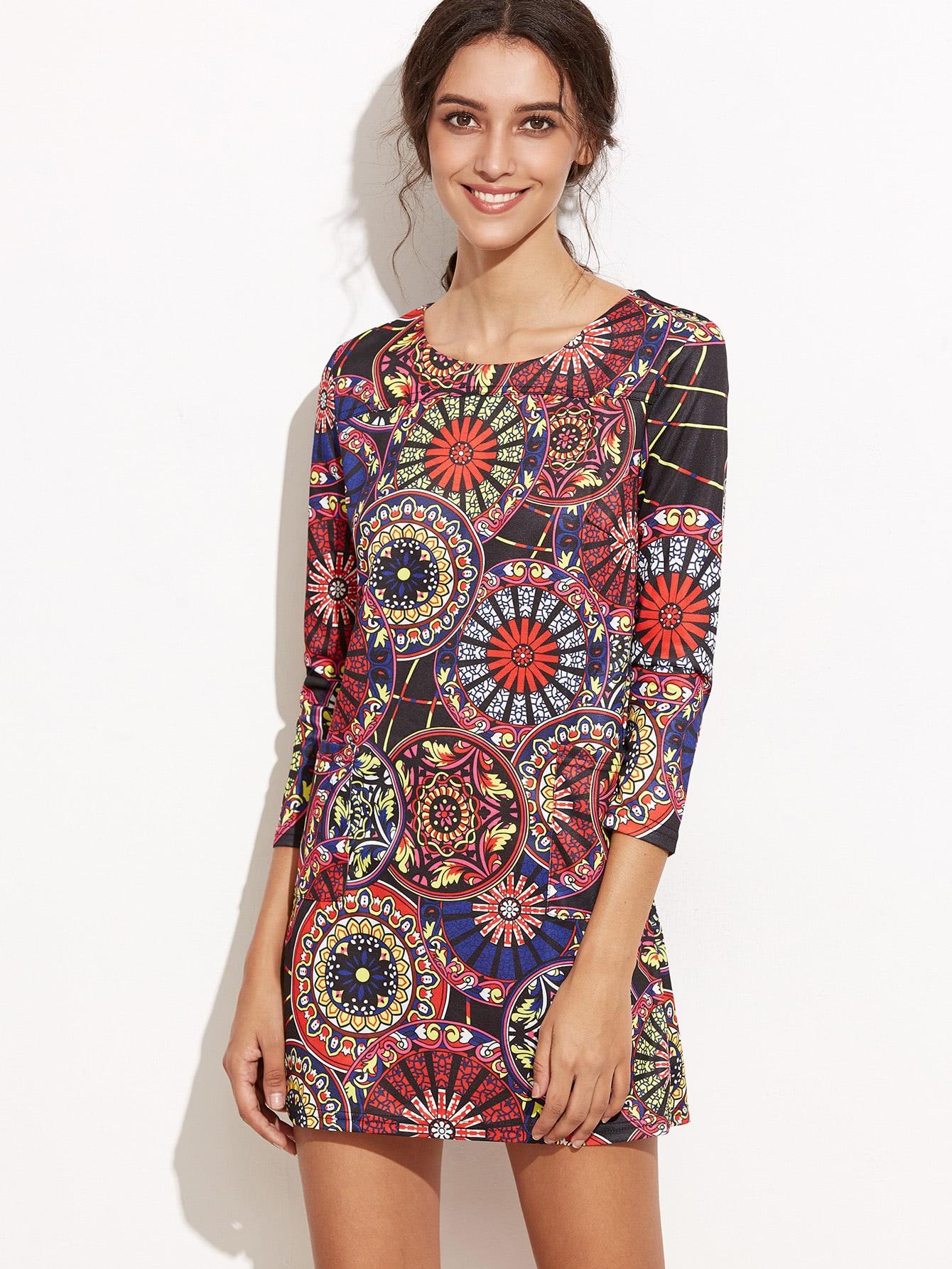 Фото Colorful Tribal Print Pockets Dress. Купить с доставкой