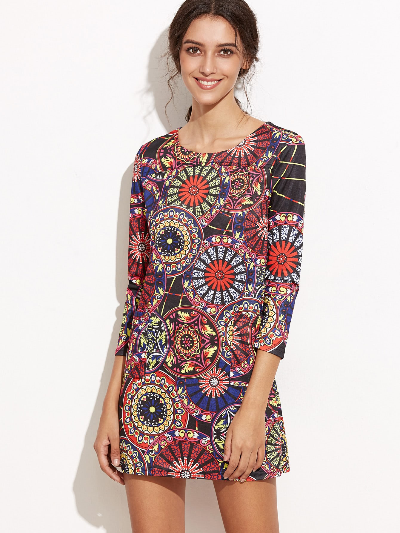 Colorful Tribal Print Pockets Dress