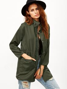 Army Green Drawstring Waist Epaulet Coat