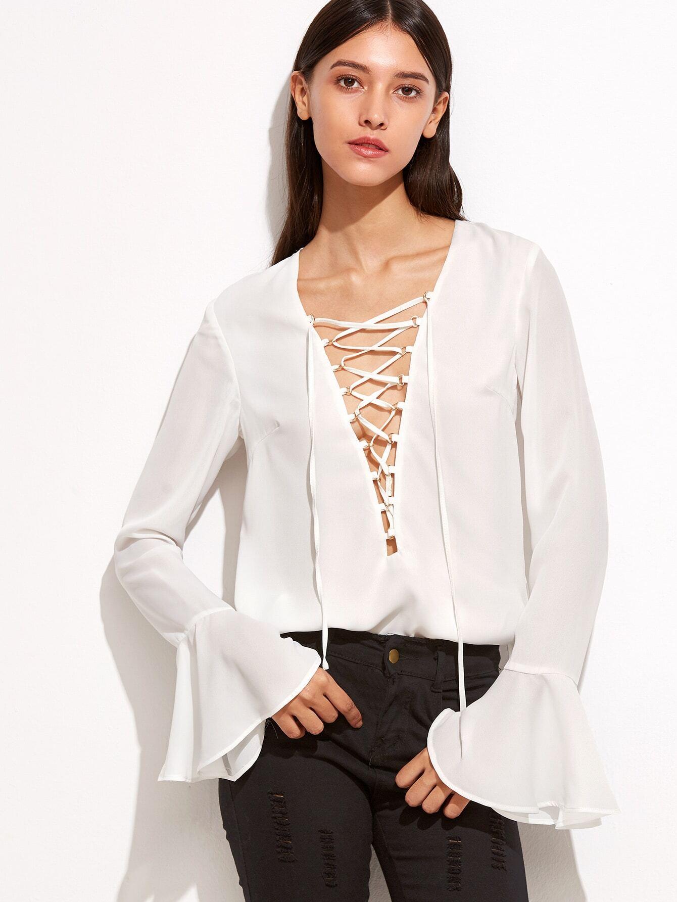 White Lace Up Plunge Neck Ruffle Sleeve Blouse blouse160920705