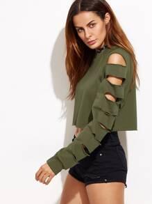 Sweat-shirt couleur unie manche avec découpes - vert kaki