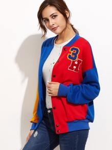 Colorblock Drop Shoulder Varsity Baseball Jacket