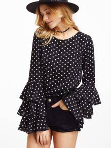 Textured Dots Print Layered Sleeve Blouse