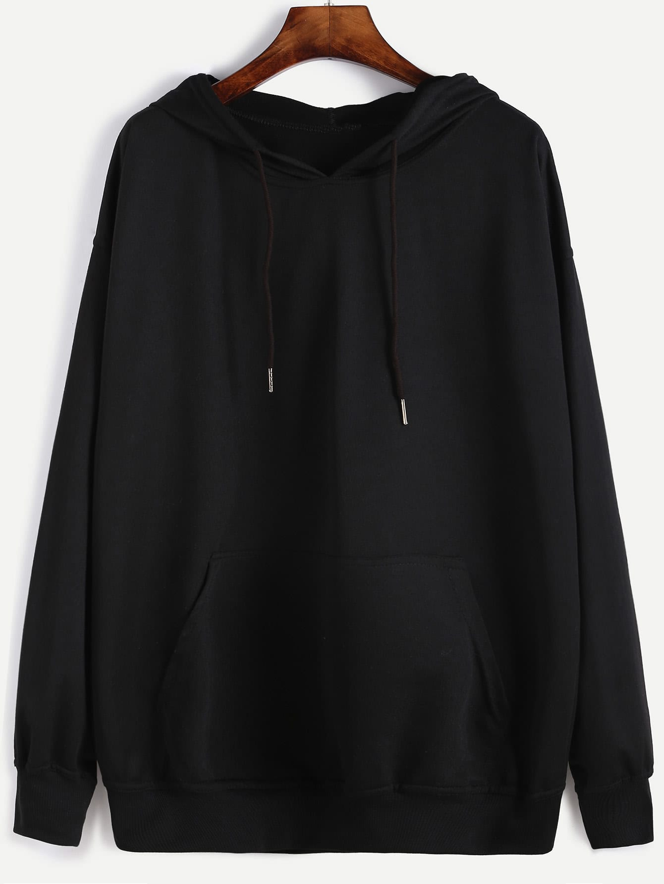 Drop Shoulder Hooded Sweatshirt drop shoulder grommet tie detail sweatshirt