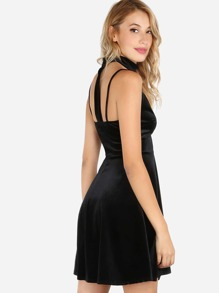 Velvet Choker Neck Skater Dress BLACK