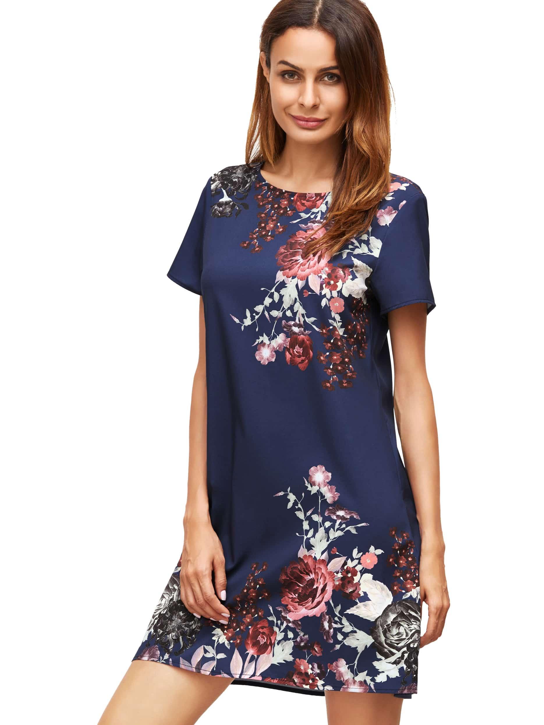 Фото Royal Blue Aztec Print Shift Dress. Купить с доставкой