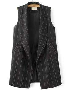 Black Vertical Striped Shawl Collar Vest With Pockets