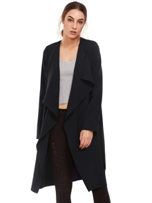 Black Lapel with Pocket Long Outerwear
