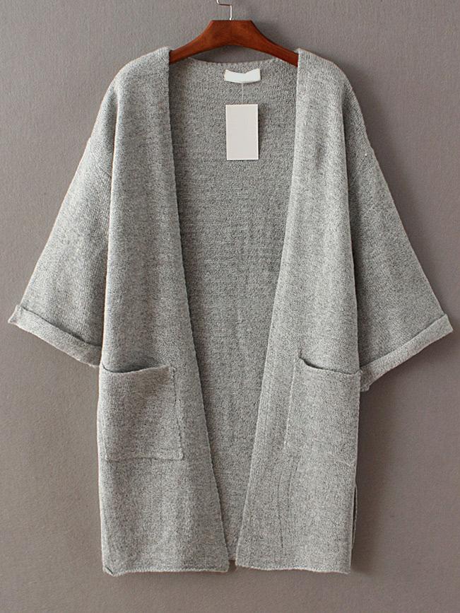 Grey Roll Cuff Split Side Pocket Cardigan sweater160928221