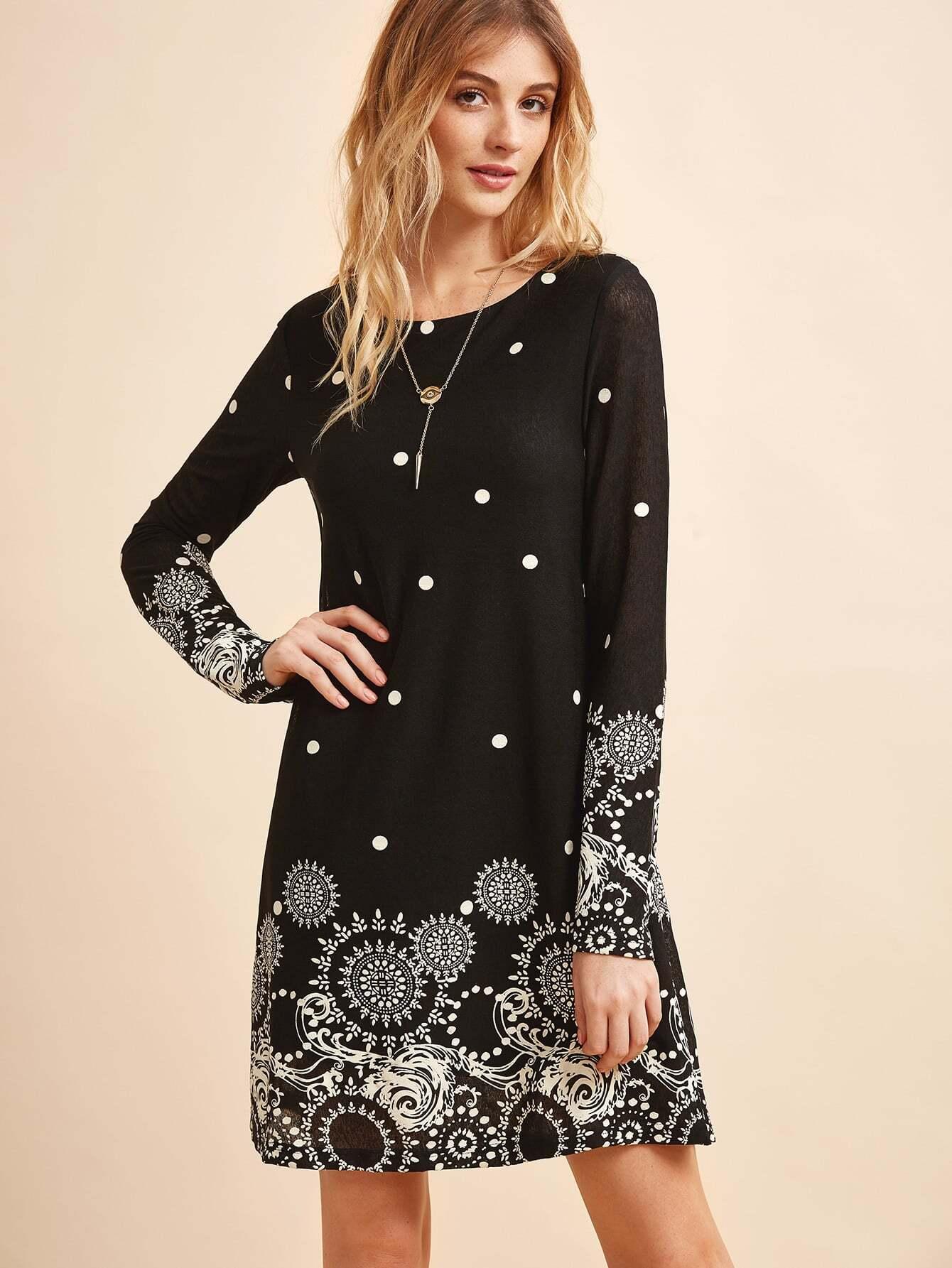 Retro Circle Amp Polka Dot Print Tunic Dress Shein Sheinside