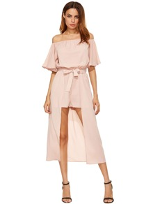 Off The Shoulder Jumpsuit With Skirt Overlay