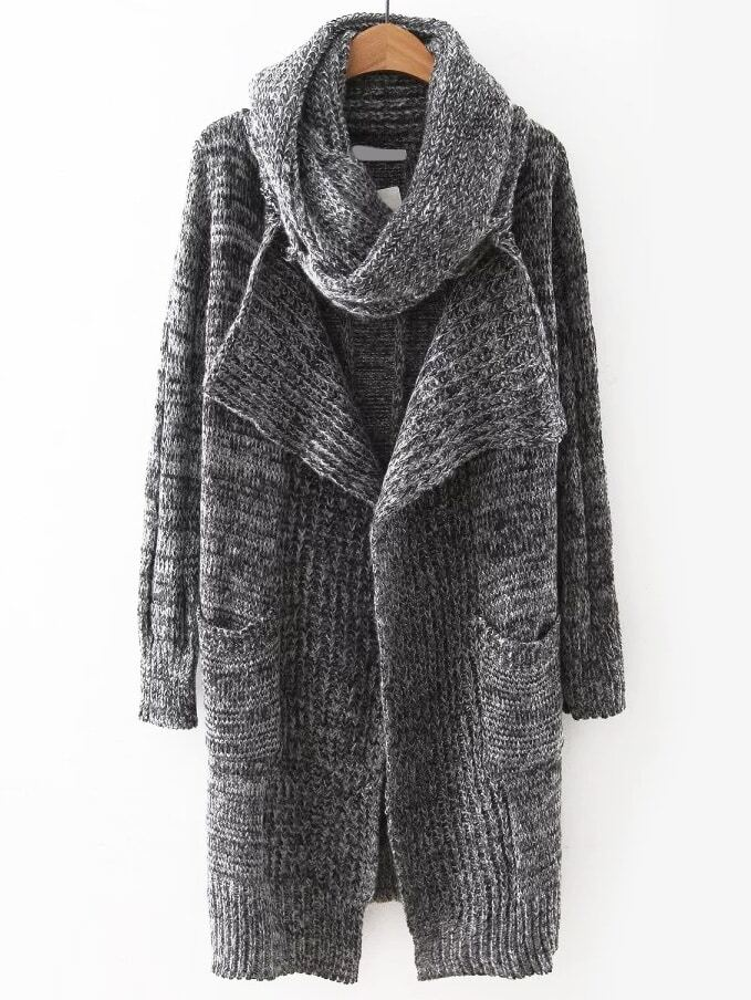 Grey Open Front Pocket Sweater Coat With ScarfGrey Open Front Pocket Sweater Coat With Scarf<br><br>color: Grey<br>size: one-size