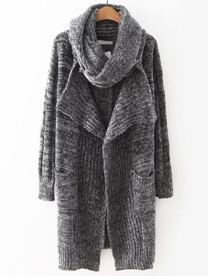 Grey Open Front Pocket Sweater Coat With Scarf