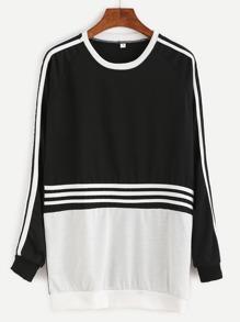 Color Block Striped Trim Sweatshirt