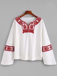 White Drop Shoulder Embroidered Sweatshirt