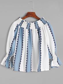 Vertical Striped Off The Shoulder Shirred Top
