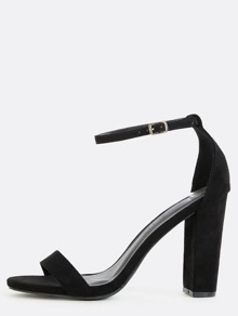 Open Toe Ankle Strap Heels BLACK
