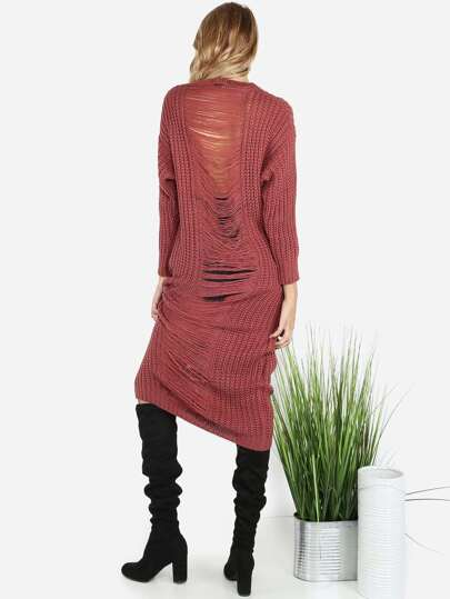 Frayed Knit Sweater Dress MAUVE