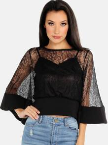 Crochet Lace Bell Sleeved Top BLACK