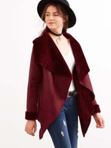 Burgundy Drape Collar Faux Shearling Jacket