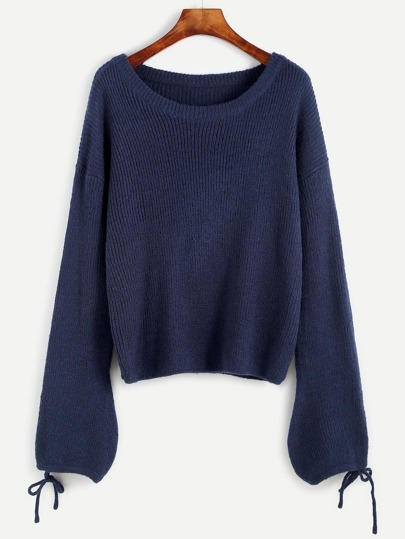 Blue Drop Shoulder Tied Lantern Sleeve Sweater
