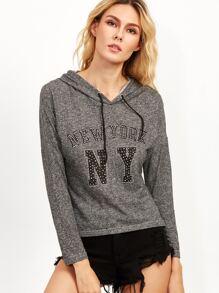 Dark Grey Rhinestone Letter Drawstring Hooded Sweatshirt
