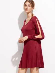 Burgundy V Neck Split Sleeve Tee Dress