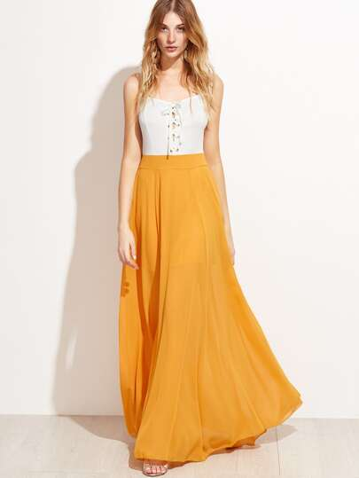 Yellow Contrast Eyelet Lace Up Split Slip Dress