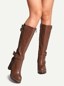 Brown PU Round Toe Buckle Strap Chunky Heel Knee Boots