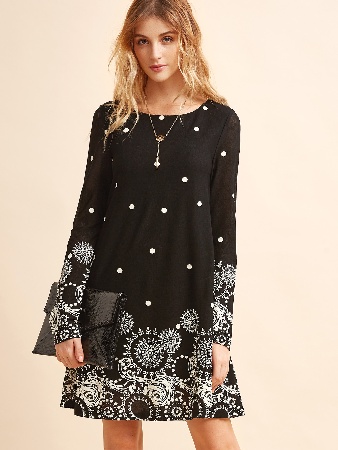 Retro Circle & Polka Dot Print Tunic Dress