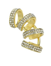 Gold Rhinestone Cuff Earrings