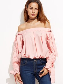 Pink Off The Shoulder Top With Bow Tie Detail