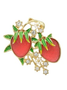 Rhinestone Enamel Strawberry Shape Big Brooch
