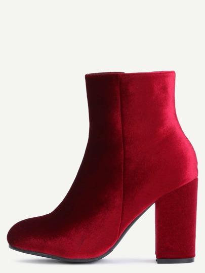 Burgundy Velvet Chunky Heel Boots