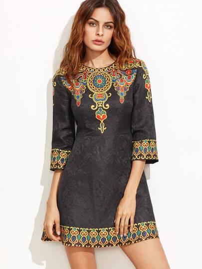 Black Vintage Print A Line Jacquard Dress