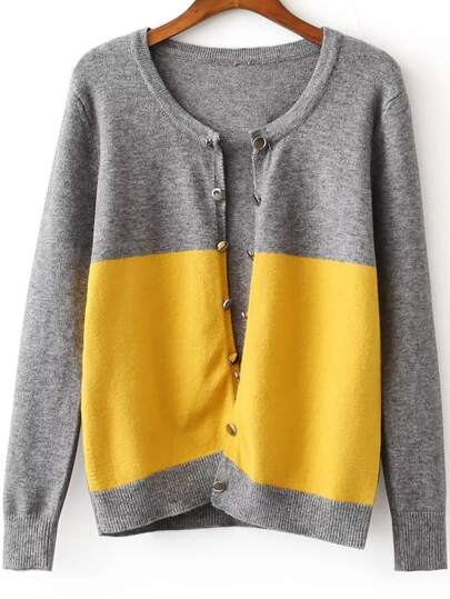 Grey Color Block Button Embellished Cardigan