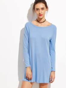 Blue Long Sleeve Tee Dress