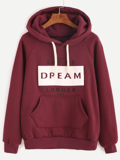 Slogan Print Raglan Sleeve Hooded Sweatshirt