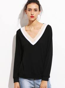 Black Contrast Striped V Neck Sweatshirt