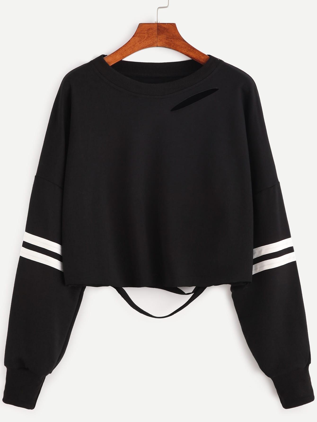 Black Varsity Striped Ripped Crop Sweatshirt sweatshirt160926102