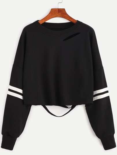 Black Varsity Striped Ripped Crop Sweatshirt