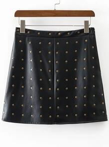 Studded Embellished Zipper PU Skirt