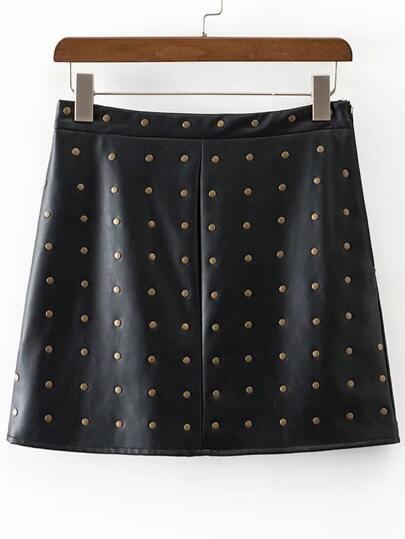 Studded Embellished Zipper PU Skirt