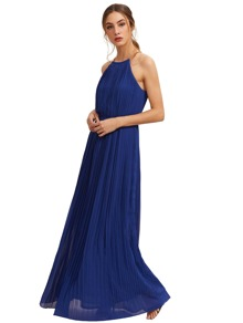 Light Blue Evening Sleeveless Halterneck Pleated Infinity Maxi Dress